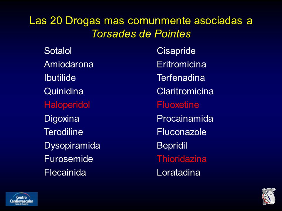 Las 20 Drogas mas comunmente asociadas a Torsades de Pointes SotalolCisapride AmiodaronaEritromicina IbutilideTerfenadina QuinidinaClaritromicina HaloperidolFluoxetine DigoxinaProcainamida TerodilineFluconazole DysopiramidaBepridil FurosemideThioridazina FlecainidaLoratadina