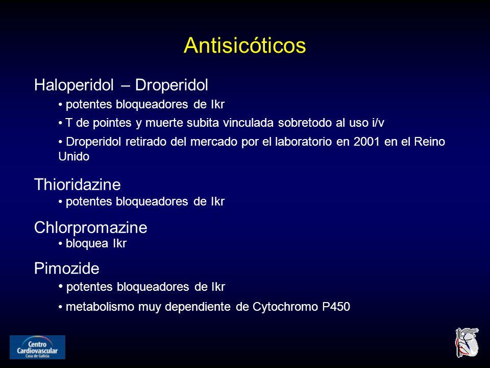 Antisicóticos Haloperidol – Droperidol potentes bloqueadores de Ikr T de pointes y muerte subita vinculada sobretodo al uso i/v Droperidol retirado del mercado por el laboratorio en 2001 en el Reino Unido Thioridazine potentes bloqueadores de Ikr Chlorpromazine bloquea Ikr Pimozide potentes bloqueadores de Ikr metabolismo muy dependiente de Cytochromo P450