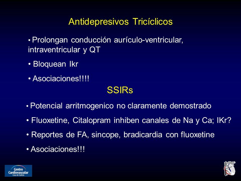 Antidepresivos Tricíclicos Prolongan conducción aurículo-ventricular, intraventricular y QT Bloquean Ikr Asociaciones!!!.