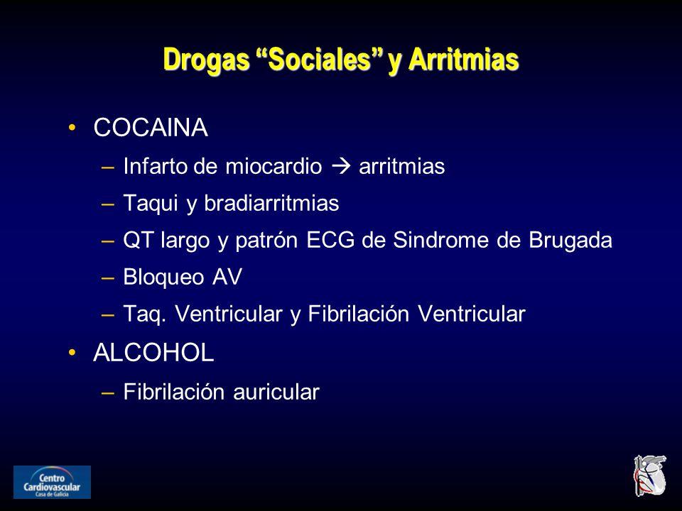 Drogas Sociales y Arritmias COCAINA –Infarto de miocardio arritmias –Taqui y bradiarritmias –QT largo y patrón ECG de Sindrome de Brugada –Bloqueo AV –Taq.