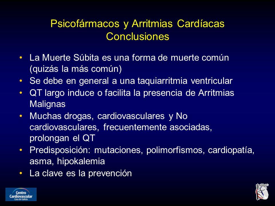Psicofármacos y Arritmias Cardíacas Conclusiones La Muerte Súbita es una forma de muerte común (quizás la más común) Se debe en general a una taquiarritmia ventricular QT largo induce o facilita la presencia de Arritmias Malignas Muchas drogas, cardiovasculares y No cardiovasculares, frecuentemente asociadas, prolongan el QT Predisposición: mutaciones, polimorfismos, cardiopatía, asma, hipokalemia La clave es la prevención