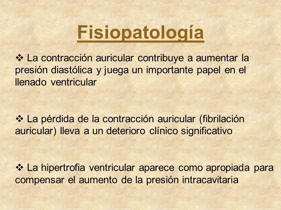 Fisiopatología La contracción auricular contribuye a aumentar la presión diastólica y juega un importante papel en el llenado ventricular La pérdida d