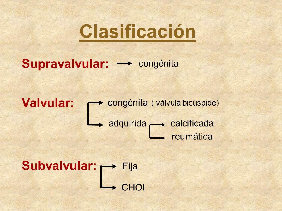 Clasificación Supravalvular: congénita Valvular: Subvalvular: congénita ( válvula bicúspide) adquiridacalcificada reumática Fija CHOI