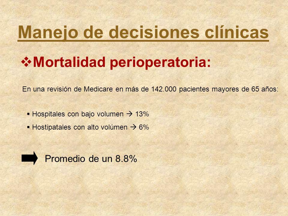Manejo de decisiones clínicas Mortalidad perioperatoria: En una revisión de Medicare en más de 142.000 pacientes mayores de 65 años: Hospitales con ba