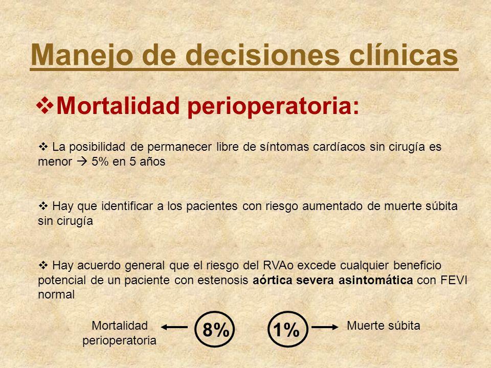 Manejo de decisiones clínicas Mortalidad perioperatoria: La posibilidad de permanecer libre de síntomas cardíacos sin cirugía es menor 5% en 5 años Ha