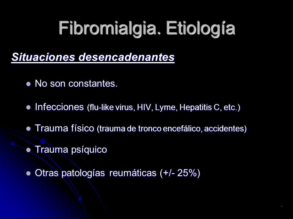 Fibromialgia. Etiología Situaciones desencadenantes No son constantes. No son constantes. Infecciones (flu-like virus, HIV, Lyme, Hepatitis C, etc.) I