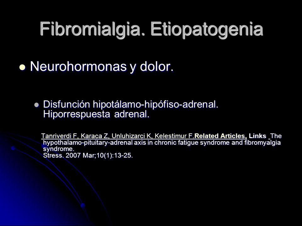 Fibromialgia. Etiopatogenia Neurohormonas y dolor. Neurohormonas y dolor. Disfunción hipotálamo-hipófiso-adrenal. Hiporrespuesta adrenal. Disfunción h