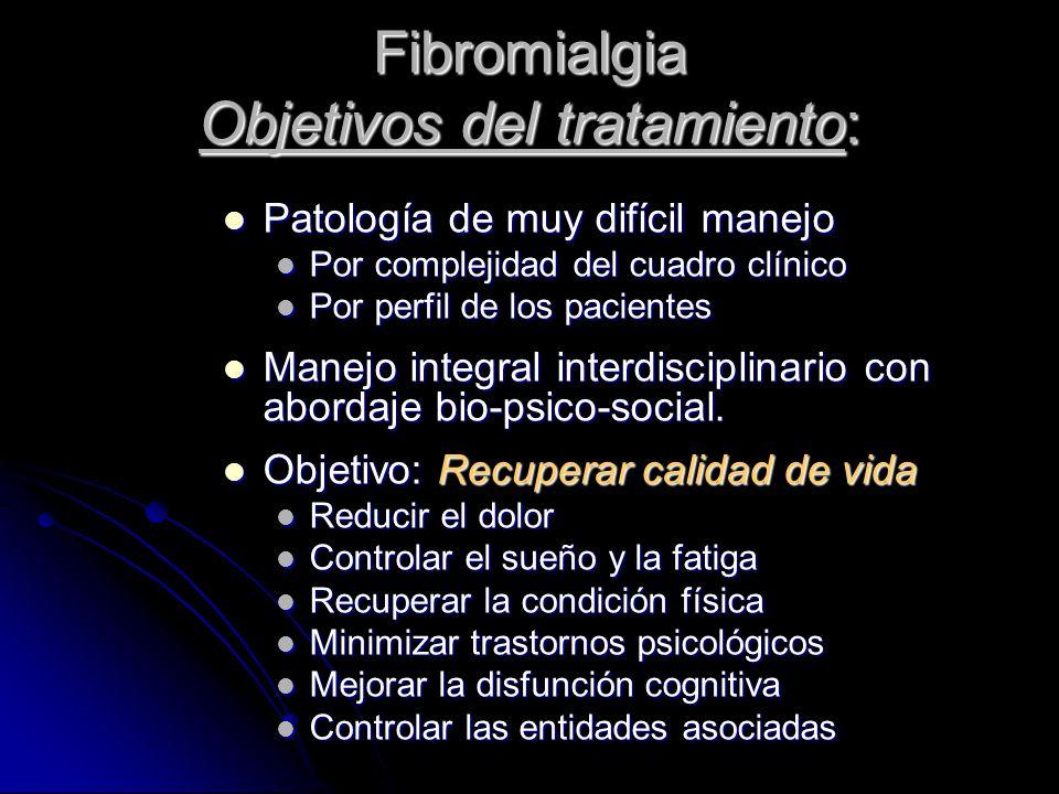 Fibromialgia Objetivos del tratamiento: Patología de muy difícil manejo Patología de muy difícil manejo Por complejidad del cuadro clínico Por complej