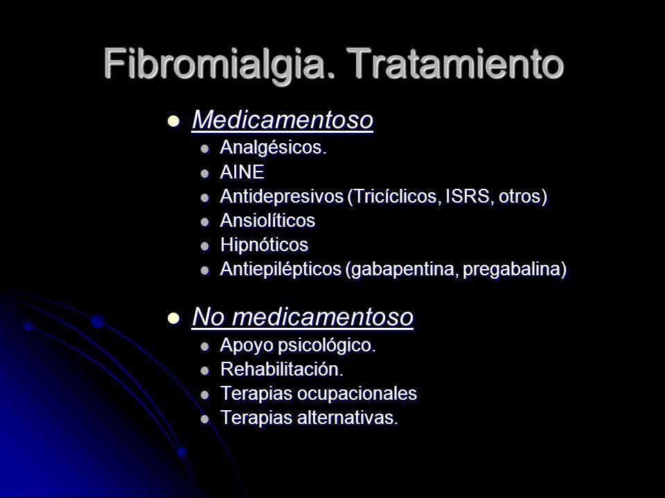 Fibromialgia. Tratamiento Medicamentoso Medicamentoso Analgésicos. Analgésicos. AINE AINE Antidepresivos (Tricíclicos, ISRS, otros) Antidepresivos (Tr