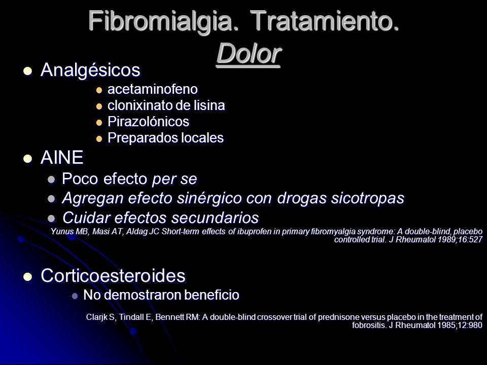 Fibromialgia. Tratamiento. Dolor Analgésicos Analgésicos acetaminofeno acetaminofeno clonixinato de lisina clonixinato de lisina Pirazolónicos Pirazol