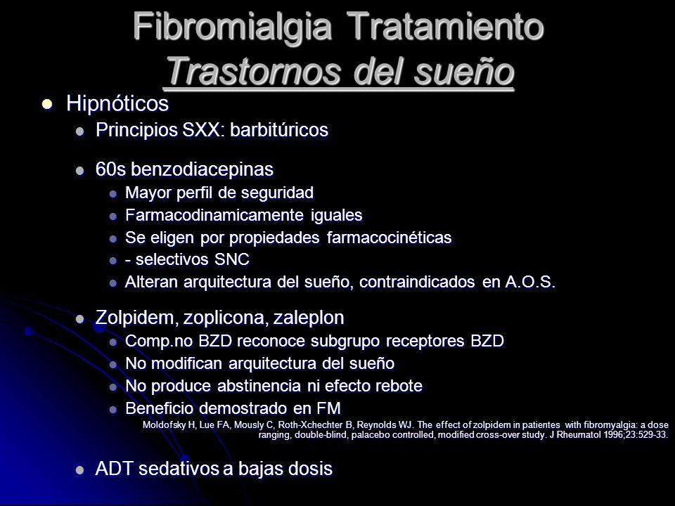 Fibromialgia Tratamiento Trastornos del sueño Hipnóticos Hipnóticos Principios SXX: barbitúricos Principios SXX: barbitúricos 60s benzodiacepinas 60s