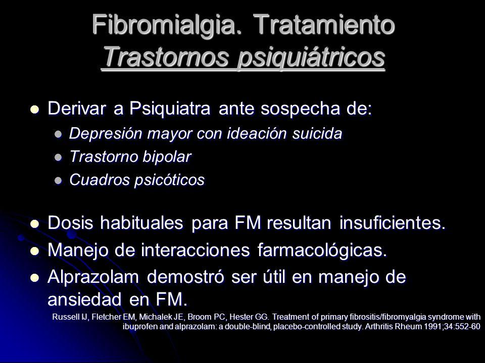 Fibromialgia. Tratamiento Trastornos psiquiátricos Derivar a Psiquiatra ante sospecha de: Derivar a Psiquiatra ante sospecha de: Depresión mayor con i
