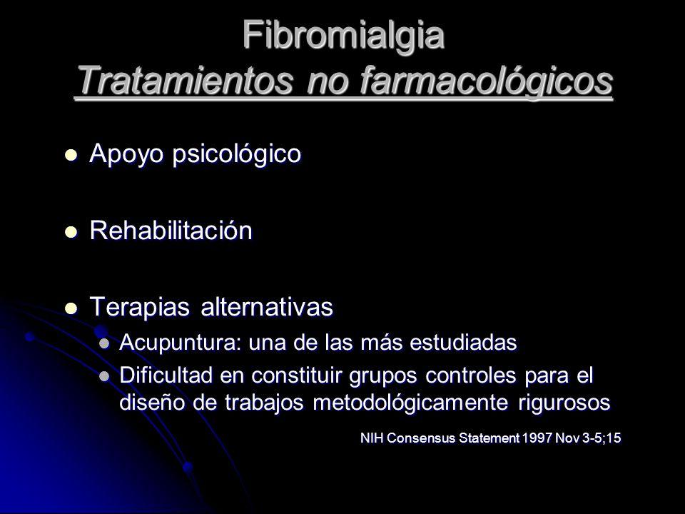 Fibromialgia Tratamientos no farmacológicos Apoyo psicológico Apoyo psicológico Rehabilitación Rehabilitación Terapias alternativas Terapias alternati
