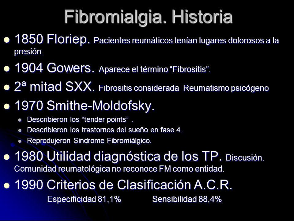 Fibromialgia. Historia 1850 Floriep. Pacientes reumáticos tenían lugares dolorosos a la presión. 1850 Floriep. Pacientes reumáticos tenían lugares dol