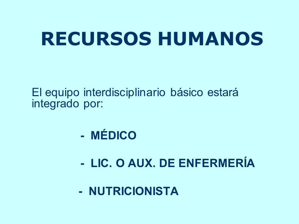 RECURSOS HUMANOS El equipo interdisciplinario básico estará integrado por: - MÉDICO - LIC. O AUX. DE ENFERMERÍA - NUTRICIONISTA