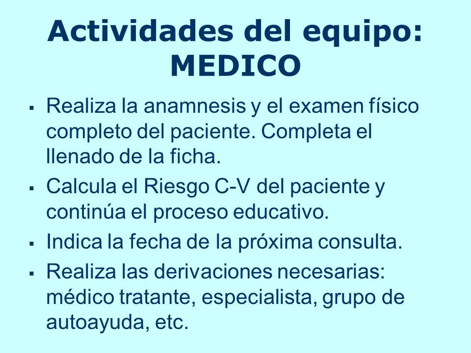 Actividades del equipo: MEDICO Realiza la anamnesis y el examen físico completo del paciente. Completa el llenado de la ficha. Calcula el Riesgo C-V d