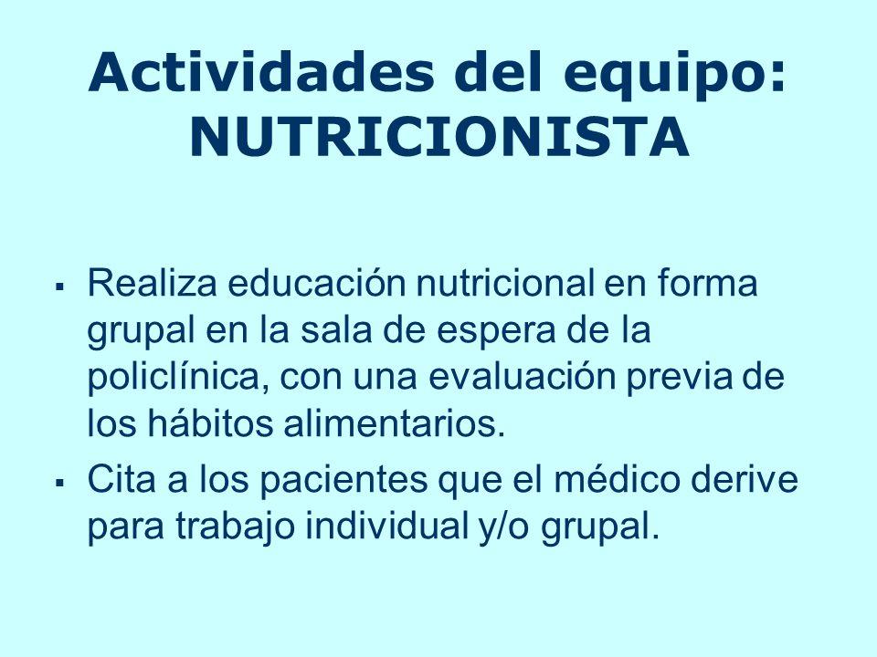 Actividades del equipo: NUTRICIONISTA Realiza educación nutricional en forma grupal en la sala de espera de la policlínica, con una evaluación previa