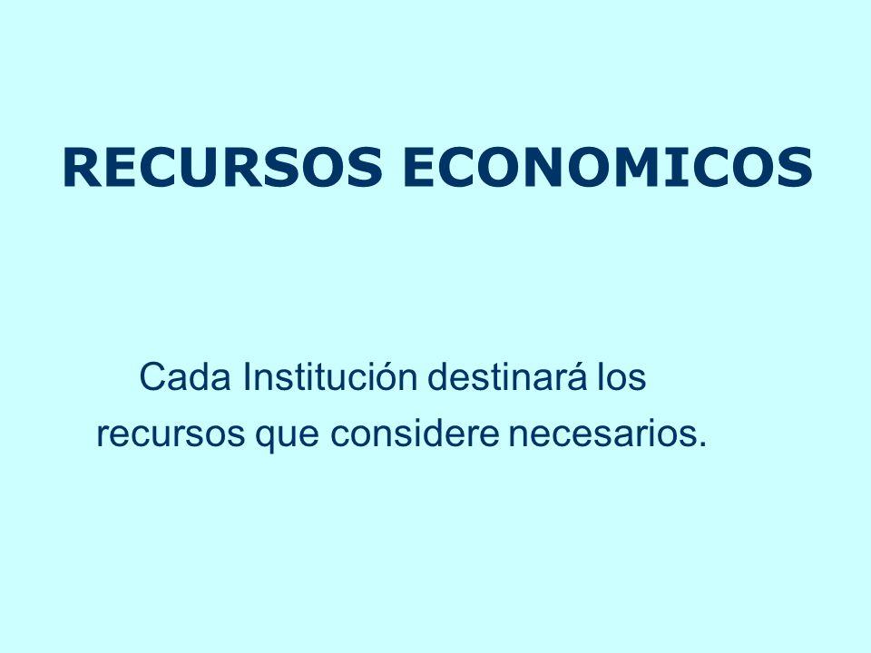 RECURSOS ECONOMICOS Cada Institución destinará los recursos que considere necesarios.