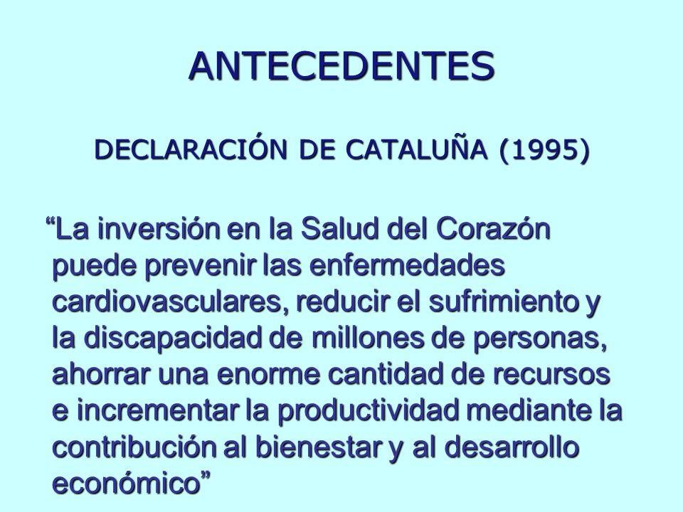 ANTECEDENTES DECLARACIÓN DE CATALUÑA (1995) La inversión en la Salud del Corazón puede prevenir las enfermedades cardiovasculares, reducir el sufrimie