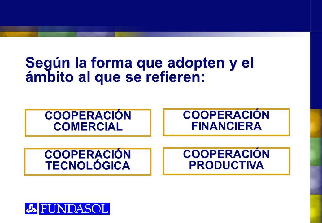 Según la forma que adopten y el ámbito al que se refieren: COOPERACIÓN COMERCIAL COOPERACIÓN FINANCIERA COOPERACIÓN TECNOLÓGICA COOPERACIÓN PRODUCTIVA