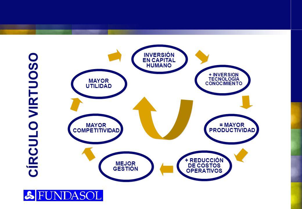 CÍRCULO VIRTUOSO INVERSIÓN EN CAPITAL HUMANO + INVERSION TECNOLOGÍA CONOCIMIENTO MAYOR UTILIDAD MAYOR COMPETITIVIDAD MEJOR GESTIÓN = MAYOR PRODUCTIVIDAD + REDUCCIÓN DE COSTOS OPERATIVOS