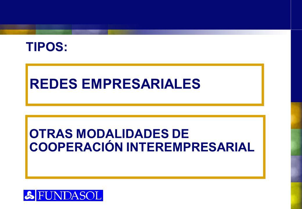 OTRAS MODALIDADES DE COOPERACIÓN INTEREMPRESARIAL REDES EMPRESARIALES TIPOS: