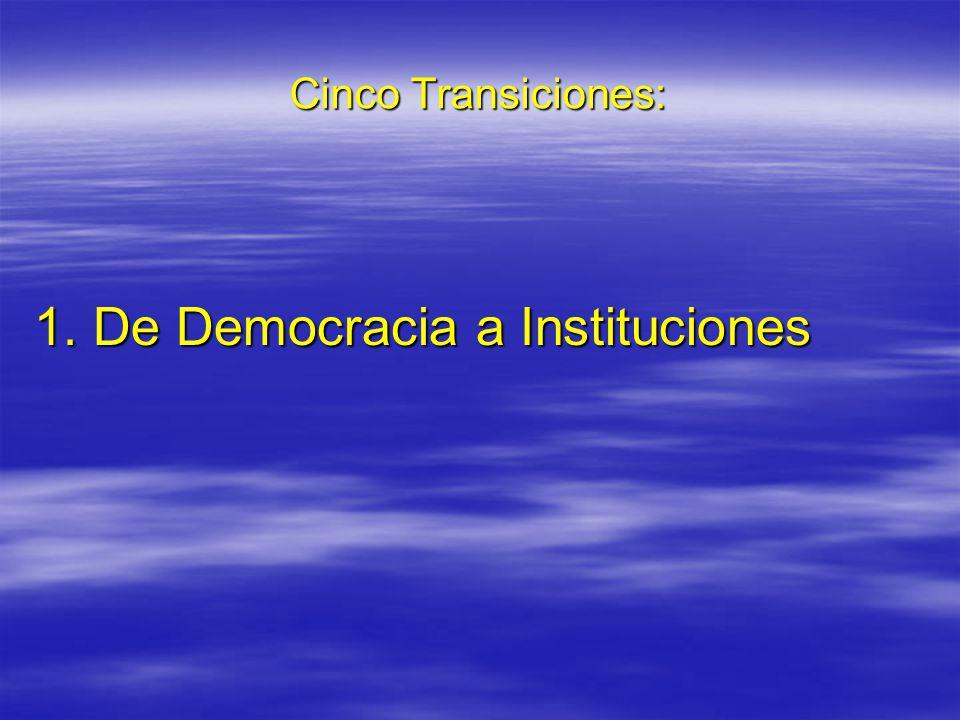 Cinco Transiciones: 1. De Democracia a Instituciones