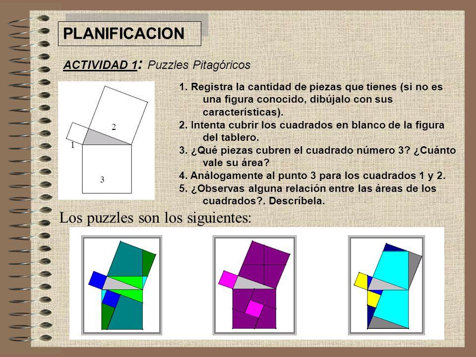 PLANIFICACION ACTIVIDAD 1 : Puzzles Pitagóricos 1.