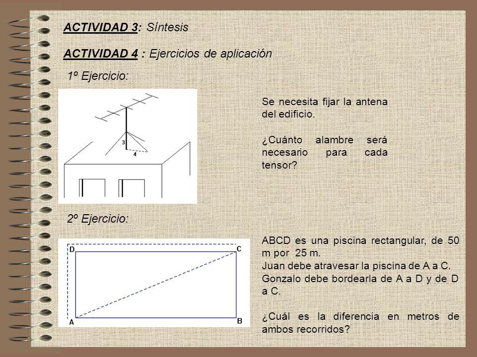 ACTIVIDAD 3: Síntesis ACTIVIDAD 4 : Ejercicios de aplicación 1º Ejercicio: Se necesita fijar la antena del edificio.