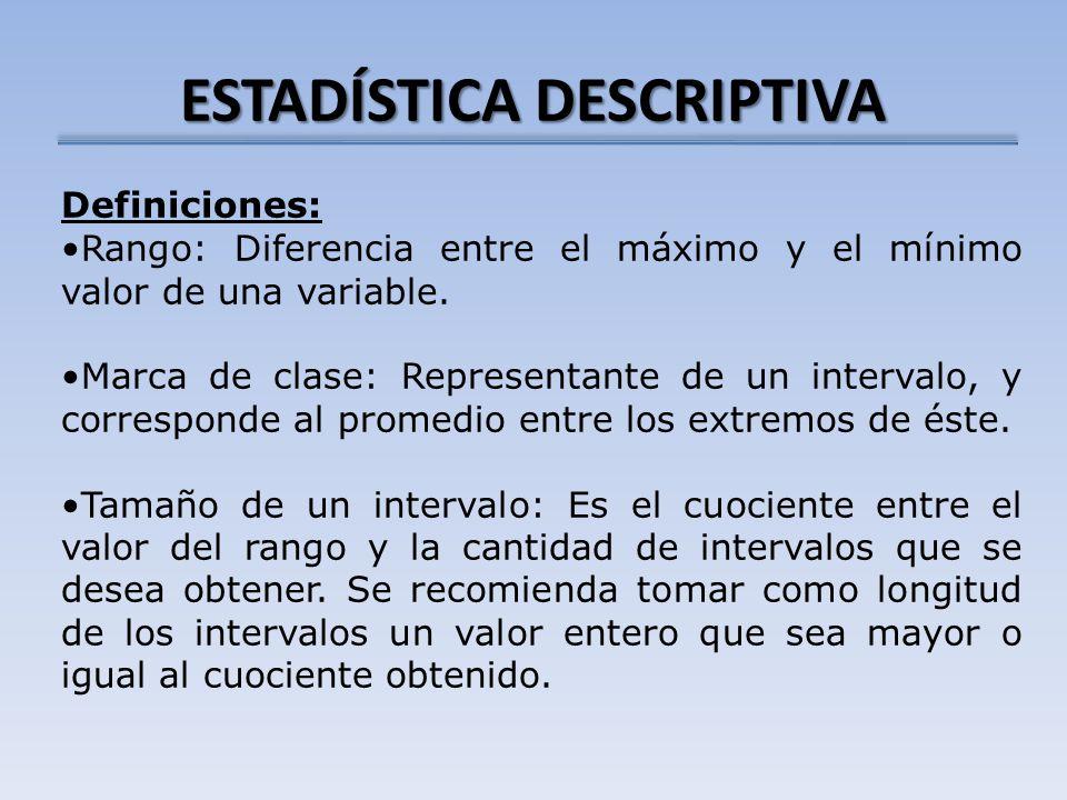 ESTADÍSTICA DESCRIPTIVA Definiciones: Rango: Diferencia entre el máximo y el mínimo valor de una variable. Marca de clase: Representante de un interva