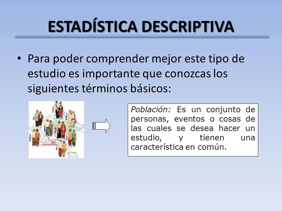 ESTADÍSTICA DESCRIPTIVA Definiciones: Rango: Diferencia entre el máximo y el mínimo valor de una variable.