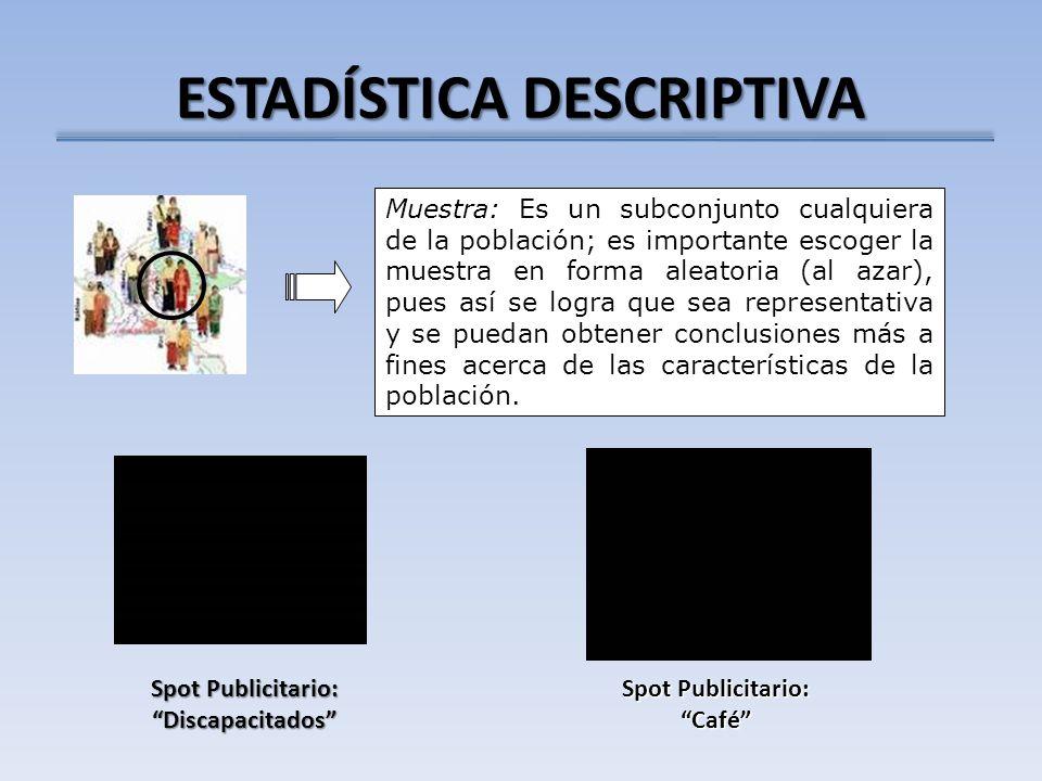 ESTADÍSTICA DESCRIPTIVA Muestra: Es un subconjunto cualquiera de la población; es importante escoger la muestra en forma aleatoria (al azar), pues así