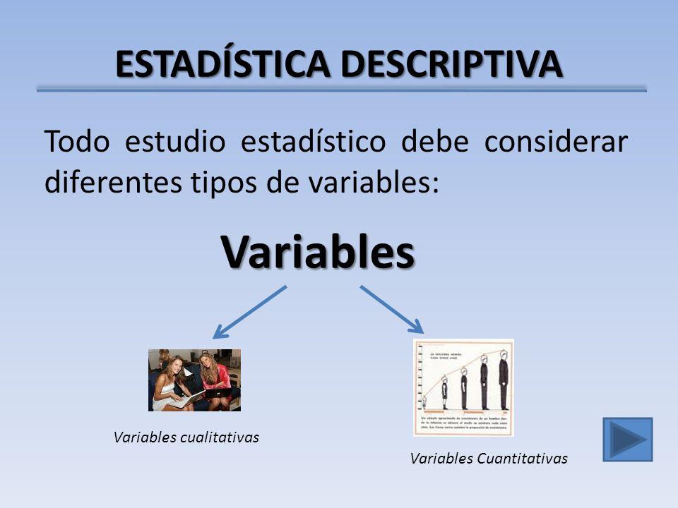 ESTADÍSTICA DESCRIPTIVA Todo estudio estadístico debe considerar diferentes tipos de variables: Variables Variables cualitativas Variables Cuantitativas