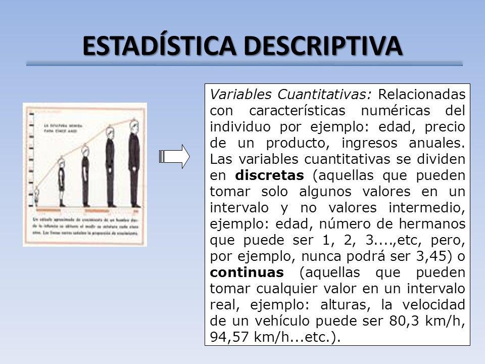 ESTADÍSTICA DESCRIPTIVA Variables Cuantitativas: Relacionadas con características numéricas del individuo por ejemplo: edad, precio de un producto, in