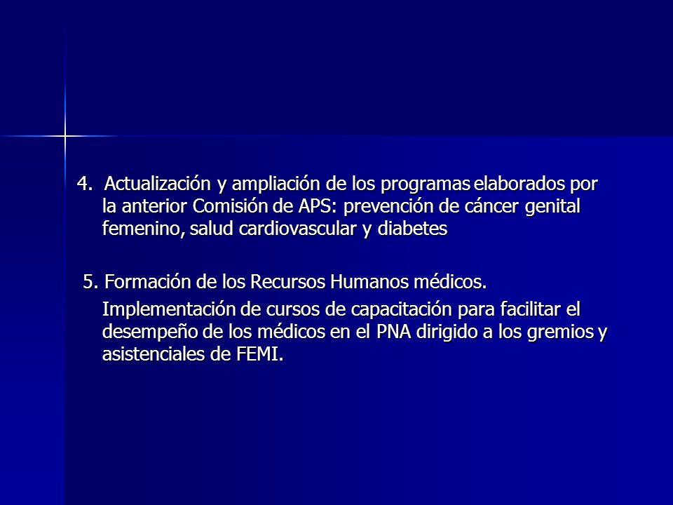 4. Actualización y ampliación de los programas elaborados por la anterior Comisión de APS: prevención de cáncer genital femenino, salud cardiovascular