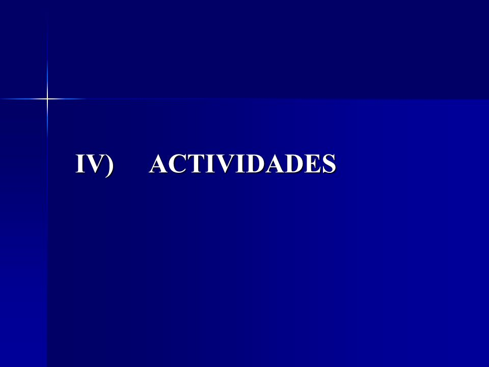 IV) ACTIVIDADES