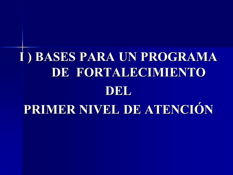 I ) BASES PARA UN PROGRAMA DE FORTALECIMIENTO DEL PRIMER NIVEL DE ATENCIÓN