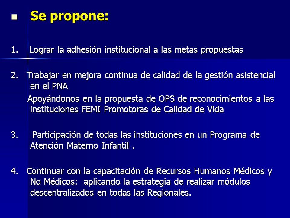 Se propone: Se propone: 1. Lograr la adhesión institucional a las metas propuestas 2.