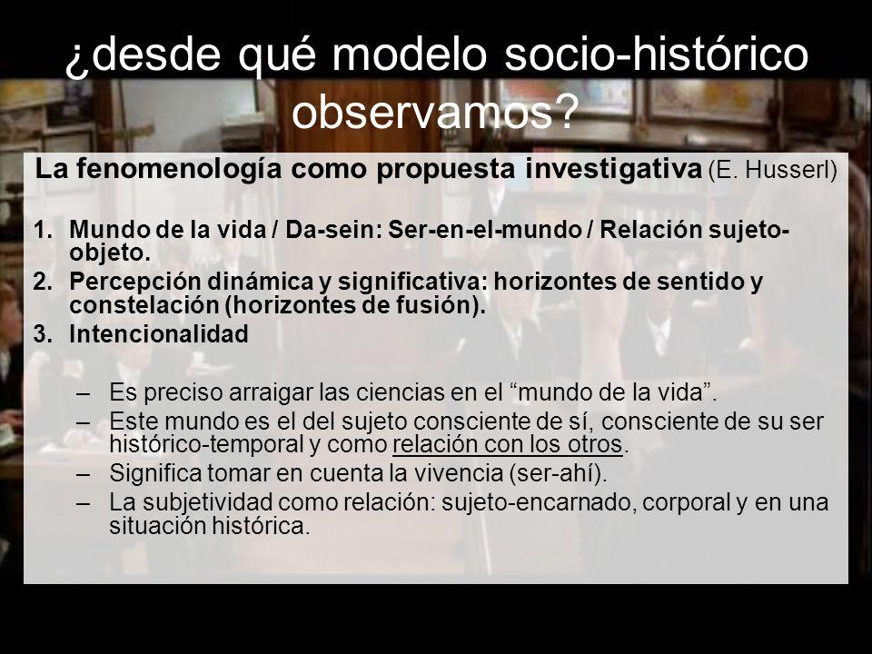 ¿desde qué modelo socio-histórico observamos.La fenomenología como propuesta investigativa (E.
