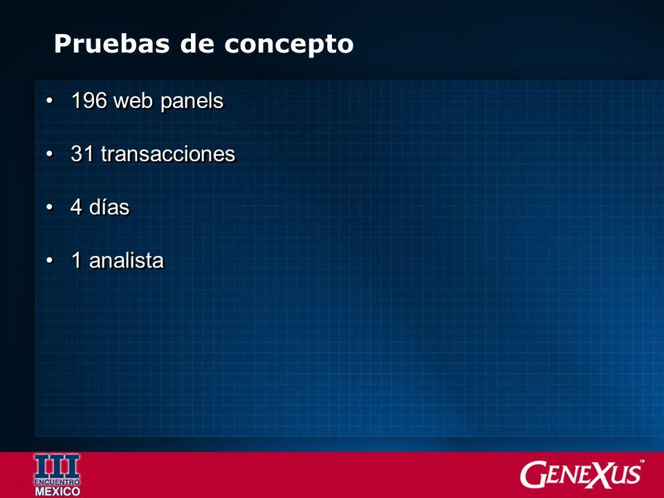 Pruebas de concepto 196 web panels 31 transacciones 4 días 1 analista 196 web panels 31 transacciones 4 días 1 analista