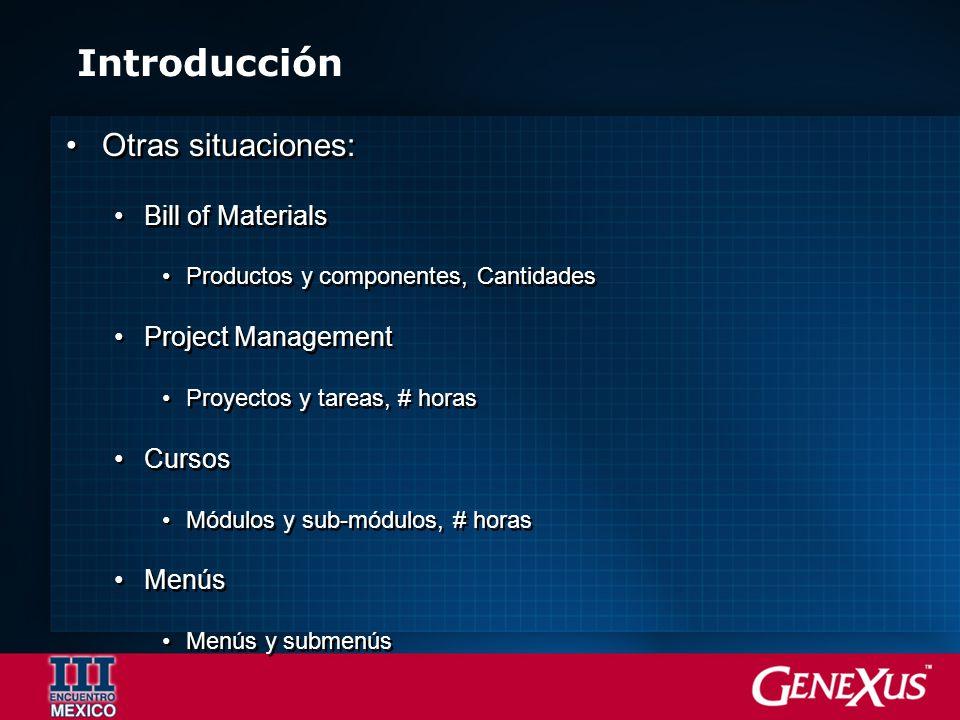 Introducción Otras situaciones: Bill of Materials Productos y componentes, Cantidades Project Management Proyectos y tareas, # horas Cursos Módulos y