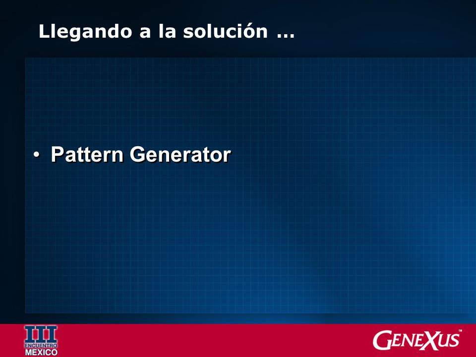 Generators Application KB v.1 KB v.2 Object Instance Pattern Template Pattern Definition