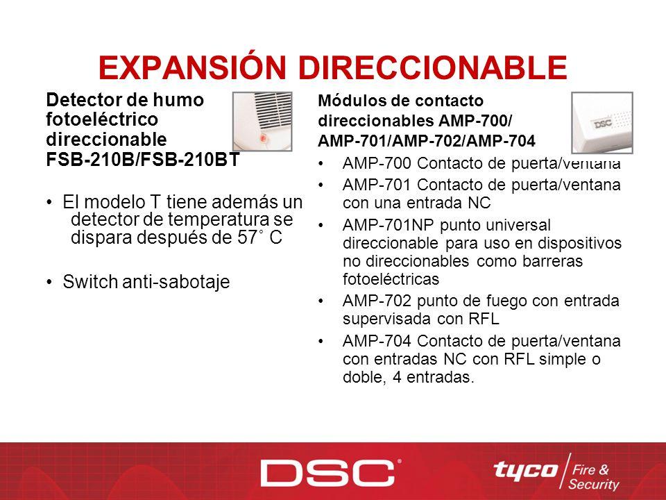 EXPANSIÓN DIRECCIONABLE Detector de humo fotoeléctrico direccionable FSB-210B/FSB-210BT El modelo T tiene además un detector de temperatura se dispara