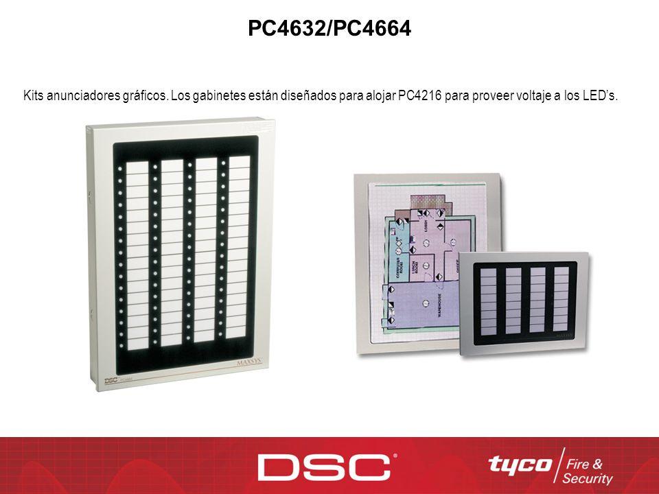 PC4632/PC4664 Kits anunciadores gráficos. Los gabinetes están diseñados para alojar PC4216 para proveer voltaje a los LEDs.