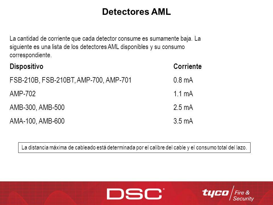 Detectores AML DispositivoCorriente FSB-210B, FSB-210BT, AMP-700, AMP-7010.8 mA AMP-7021.1 mA AMB-300, AMB-5002.5 mA AMA-100, AMB-6003.5 mA La cantida