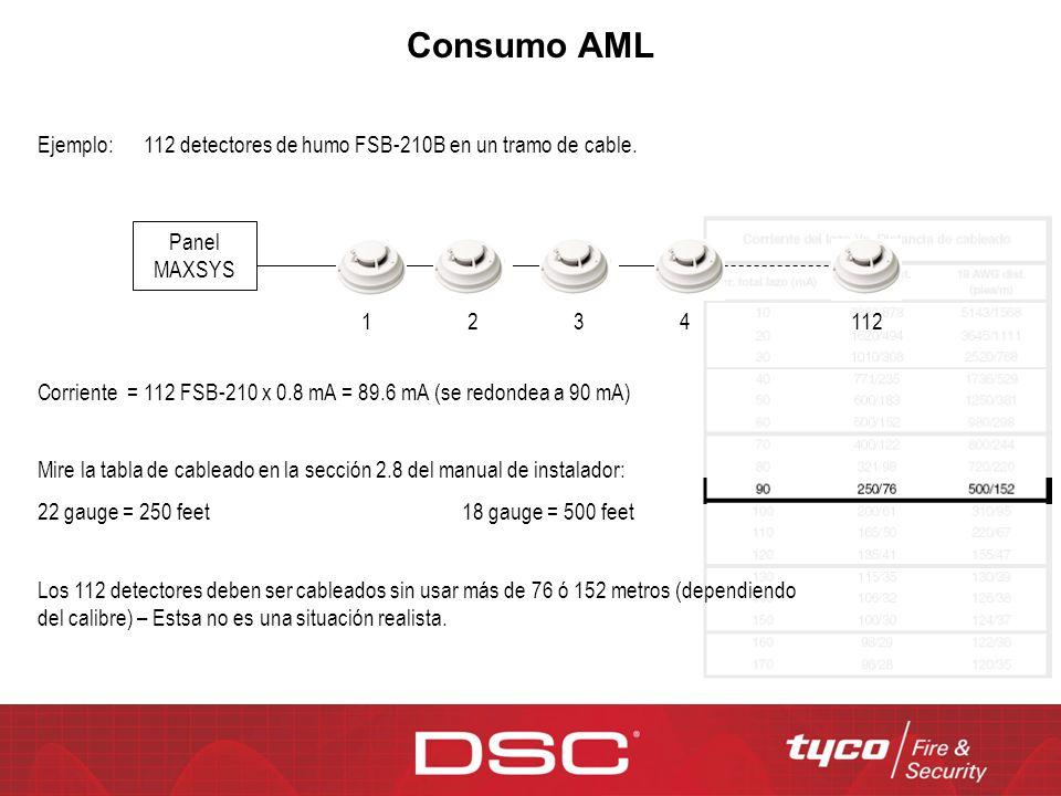 Consumo AML Ejemplo:112 detectores de humo FSB-210B en un tramo de cable. Panel MAXSYS 1231124 Corriente = 112 FSB-210 x 0.8 mA = 89.6 mA (se redondea