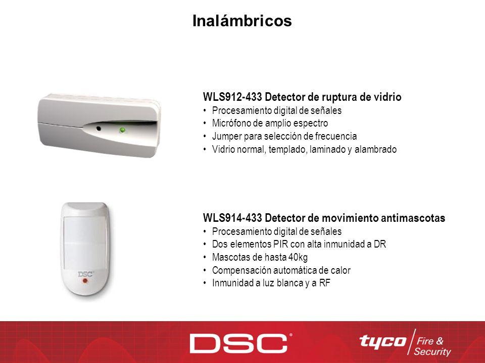 WLS912-433 Detector de ruptura de vidrio Procesamiento digital de señales Micrófono de amplio espectro Jumper para selección de frecuencia Vidrio norm
