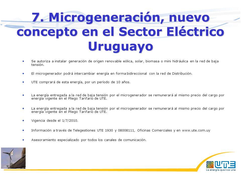 7. Microgeneración, nuevo concepto en el Sector Eléctrico Uruguayo Se autoriza a instalar generación de origen renovable eólica, solar, biomasa o mini