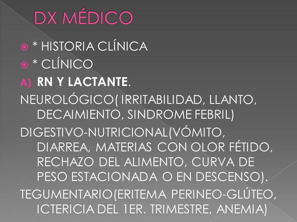 * HISTORIA CLÍNICA * CLÍNICO A) RN Y LACTANTE. NEUROLÓGICO( IRRITABILIDAD, LLANTO, DECAIMIENTO, SINDROME FEBRIL) DIGESTIVO-NUTRICIONAL(VÓMITO, DIARREA