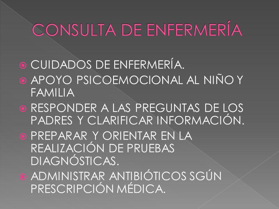 CUIDADOS DE ENFERMERÍA. APOYO PSICOEMOCIONAL AL NIÑO Y FAMILIA RESPONDER A LAS PREGUNTAS DE LOS PADRES Y CLARIFICAR INFORMACIÓN. PREPARAR Y ORIENTAR E